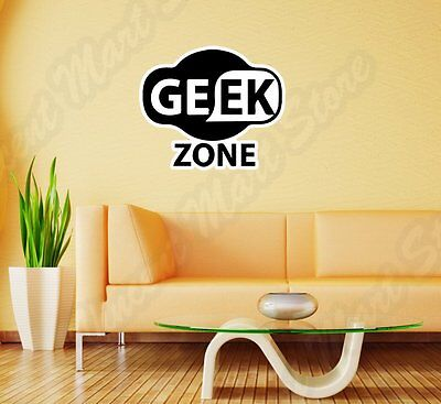 Geek Zone Nerd Computer Wi/Fi Funny Wall Sticker Room Interior Decor - Nerd Room Decor