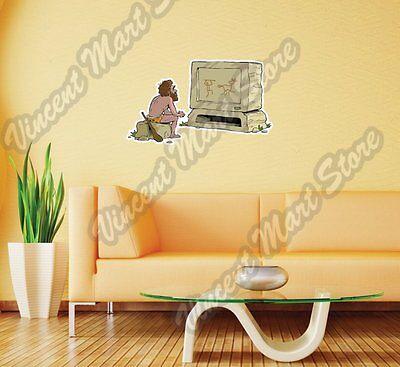 Caveman Watching TV Funny Cartoon Gift Wall Sticker Room Interior Decor - Caveman Decorations