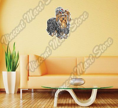 Cute Puppy Yorkshire Terrier Dog Breed Wall Sticker Room Interior Decor - Breed Wall