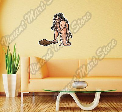 Caveman With Wooden Club Stone Age Gift Wall Sticker Room Interior Decor 25