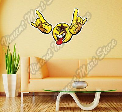 Smiley Face Emoticon Rock n Roll Kiss Wall Sticker Room Interior Decor 25