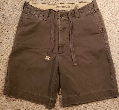 Abercrombie & Fitch Mens Regulation Officer Chino Drawstring Gray Shorts 32/10
