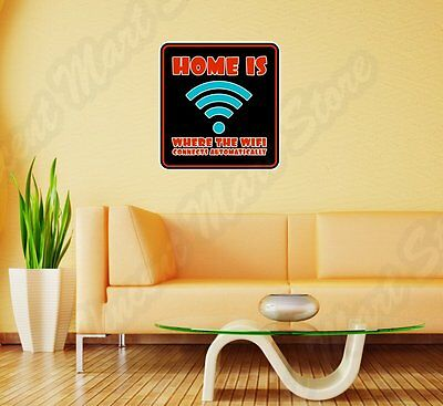 "Home WiFi Internet Online Geek Nerd Wall Sticker Room Interior Decor 22""X22"""