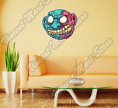 Zombie Purple Blue Head Scary Gift Idea Wall Sticker Room Interior Decor - Zombie Decorations Ideas