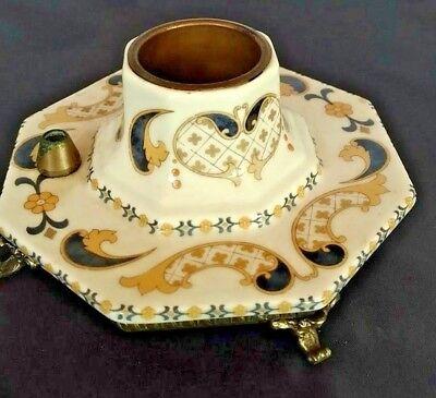 "ACE ""decor aix en provence"" metal base ceramic candle holder Vintage"