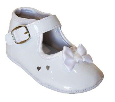 Baby Infant Girls White Shiny Dress Crib Shoes Flats Christening Baptism Booties