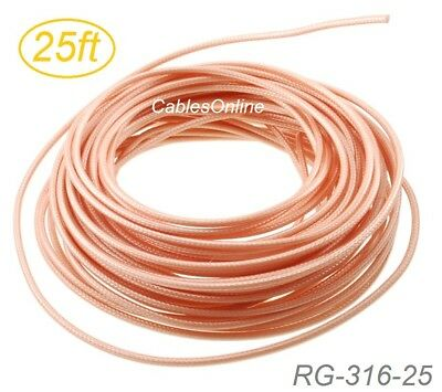 50 Ohm Coax Cable (25ft RG316 Bulk 50 Ohm High Temperature Coax Cable,)