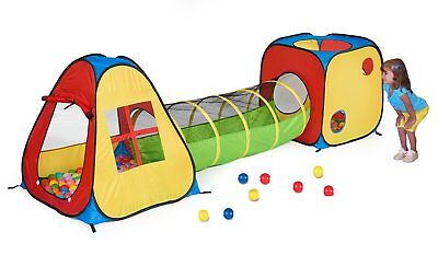 UTEX 3 in 1 Pop Up Play Tent with Tunnel, Ball Pit for Kids, Boys, Girls, Babies