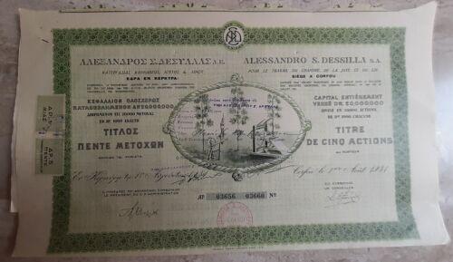 Processing Hemp Jute Flax AL. DESSILLA Title 1 Share Bond Stock Certificate 1931