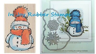 (Penny Black SNOWY Cute Snowman Stamp Frosty's Snow, Family Die Set Winter Cards)