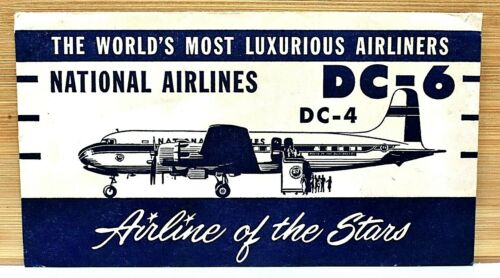 RARE WWII 1940s NATIONAL AIRLINES DC4 DC6 AIRLINE OF THE STARS TICKET ENVELOPE