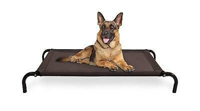 Raised Dog Bed Camping Elevated Cot Big Outdoor Extra Large Steel Frame Brown XL