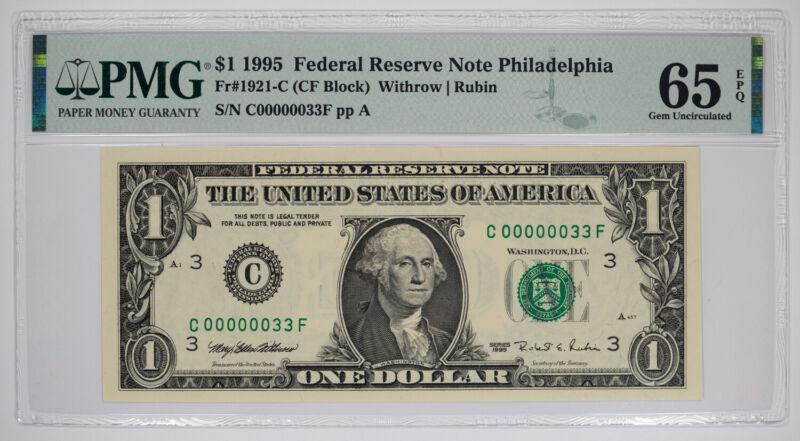 1995 $1 FEDERAL RESERVE NOTE PHILADELPHIA FR#1921-C PMG 65 EPQ LOW SERIAL 33