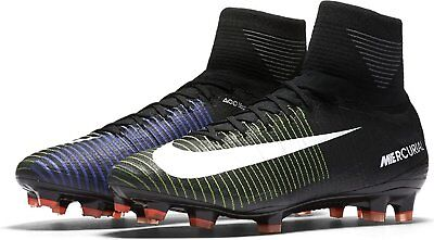 Nike Mens MERCURIAL SUPERFLY V FG BLACK WHITE ELECTRIC GREEN 831940 SOCCER CLEAT