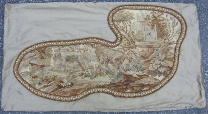 Silk pillow sham with fine hand woven antique French Aubusson tapestry goats