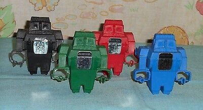 vintage Topps robot ROBOTRON CANDY CONTAINER LOT x4 red blue black green UNUSED