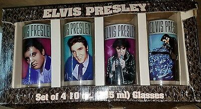 Elvis Presley Set of 4 Anniversary 10oz Highball Glass Set Vandor Portrait Style