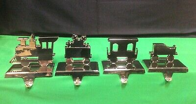 Set Of 4 Metal Christmas Mantel Stocking Hook Holder Train Engine car.