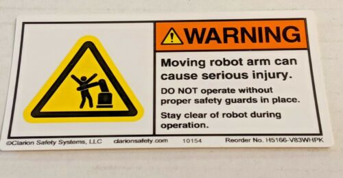 WARNING LABEL Moving robot arm can cause serious injury OSHA STICKER Industrial