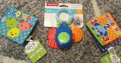 baby toy lot, 2 soft books, 1 key chain