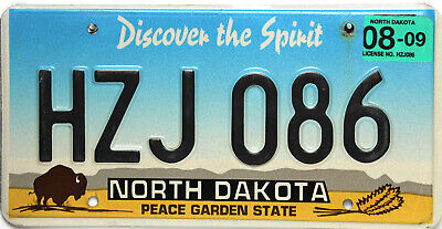 North Dakota  License Plate, Original Nummernschild  USA  HZJ 086  ORIGINALBILD