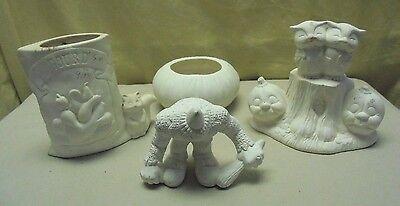 4pc. Ceramic Ready to Paint Halloween Owls, Pumpkin, Headless Man Figurine Set (Halloween Figurines To Paint)