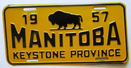 Manitoba 1957 KEYSTONE PROVINCE BOOSTER License Plate SUPERB QUALITY