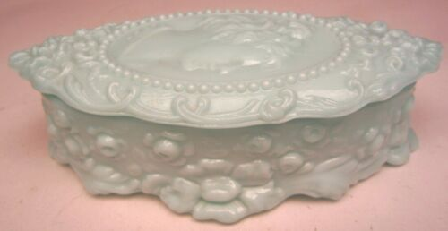 "Fostoria Glass Co. Jenny Lind Oval Jewell Trinket Box Blue Milk Glass 6 ¾"" long"