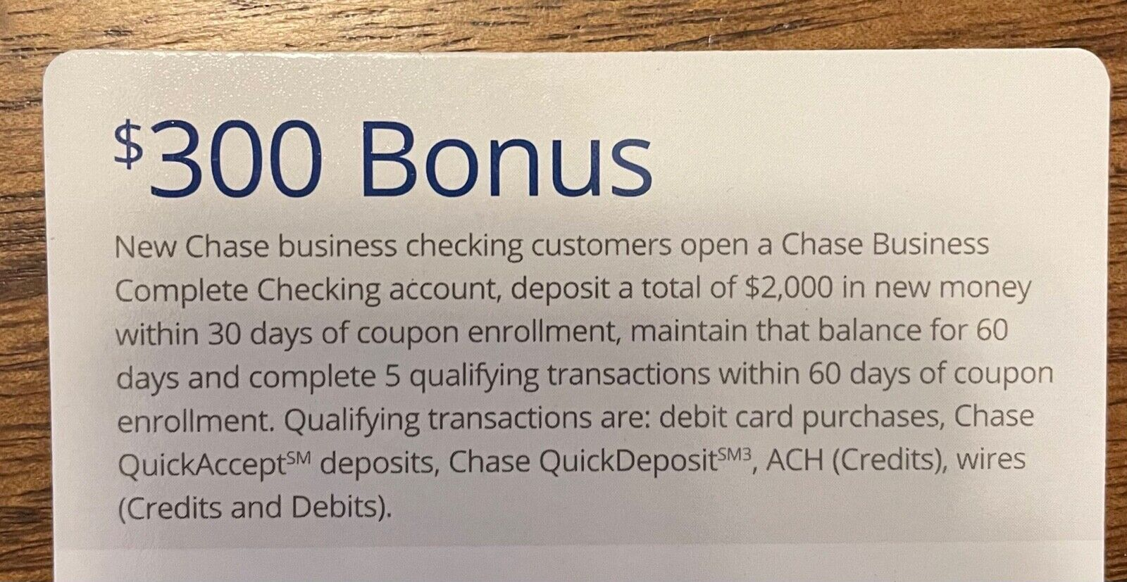 Chase Bank 300 Bonus Coupon Business Complete Checking Expires 03/04/2021  - $2.99