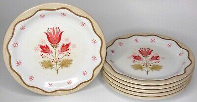 Set of 6 Vintage Boontonware 7 Inch Melmac Melamine Plates Floral Tulip 5105-7
