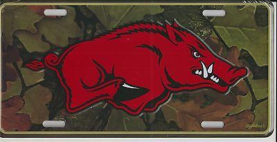 Arkansas Razorbacks Camo Automobile License Plate Metal Car Tag Big Hog Logo
