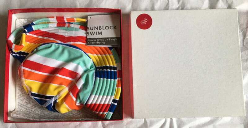 Hanna Andersson girls size small Rainbow Stripe sunblock swim hat NIB