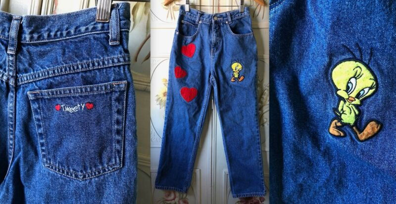 VTG 90s WARNER BROS TWEETY BIRD GIRLS HEARTS APPLIQUES BLUE JEANS DENIM PANTS 12