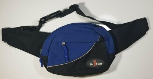 Six Flags Theme Park Vintage Fanny Pack Hip Bag Waist Sling Blue/Black 3 pocket