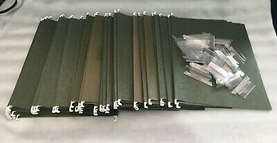 Lot Of 50 Letter Size Hanging File Folders With Clear Plastic Index Tabs - Green