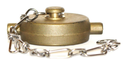 """1-1/2"""" NST (NH) Fire Hose Hydrant Brass Cap with Stainless Steel Chain"""
