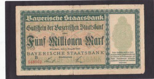 Germany 5 Million Mark  Bayerische Staatsbank 1923   G