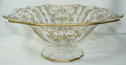 Cambridge Diane #3400 Gold Encrusted Footed Console Bowl