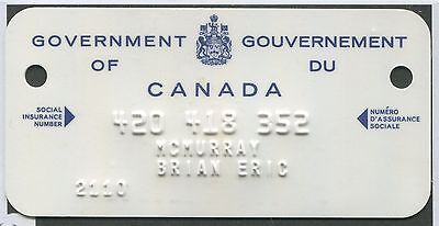 Canada Revenue 1966 Sin Card From Unemployment Insurance Book