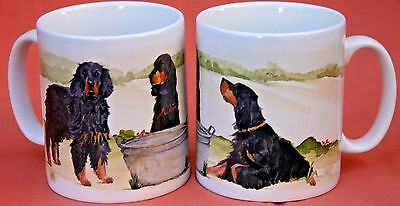 GORDON SETTER DOG MUG OFF TO THE DOG SHOW design SANDRA COEN ARTIST WATERCOLOUR