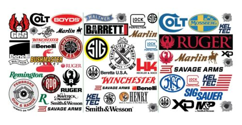 50 Gun Pistol Rifle Firearm Logo Quality Vinyl Decals - Indoor Outdoor FREE SHIP