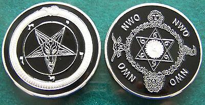 Baphomet Secret Society Occult NWO Illuminati Member High Priest Order Coin 666