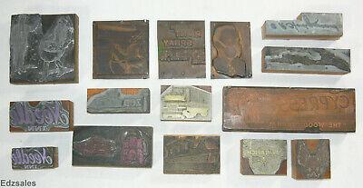 Vintage Letterpress Print Blocks Needle Inn Respirator Beer Barons