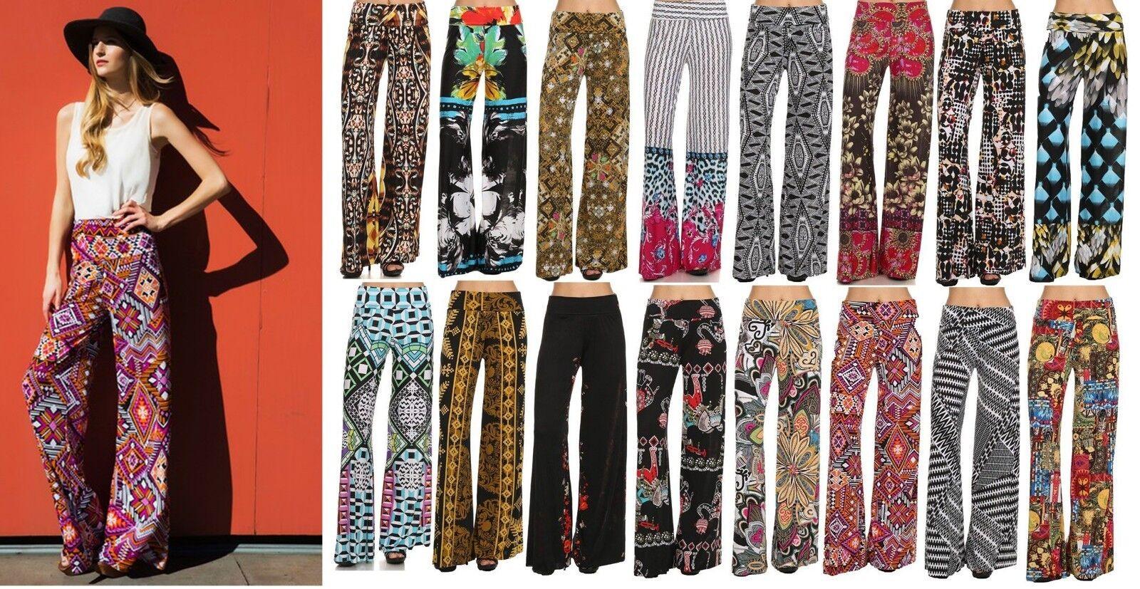 Bdcoco Womens High Fold Over Waist Wide Leg Boho Print Palazzo Pants Plus Size