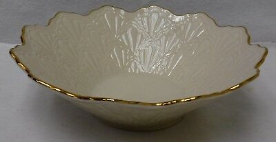 LENOX china JACQUARD GOLD pattern Large Round Fluted Serving Bowl  9-3/4