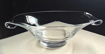 Steuben centerpiece footed bowl with folded corners. Signed.1940's.