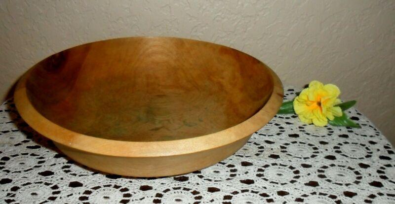 RARE VINTAGE HAND-MADE PRIMITIVE WOOD DOUGH BOWL, SIGNED WOODPECKER WOOD WARE
