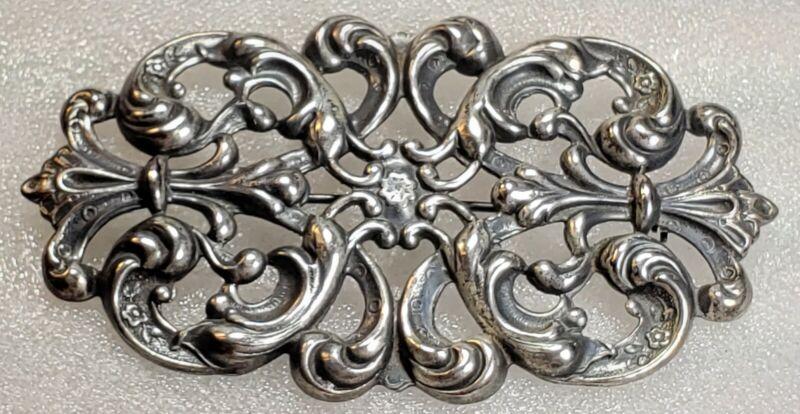Vintage STERLING Silver Scrolling Openwork Design Victorian Revival Brooch