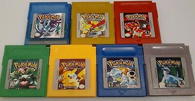 Pokemon GBC Versions/ Crystal Yellow Red Green Blue Silver Gold (FREE SHIPPING)