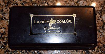 Antique Metal Document Box w/ key Marked Lackey Coal Co. Nashville, TN
